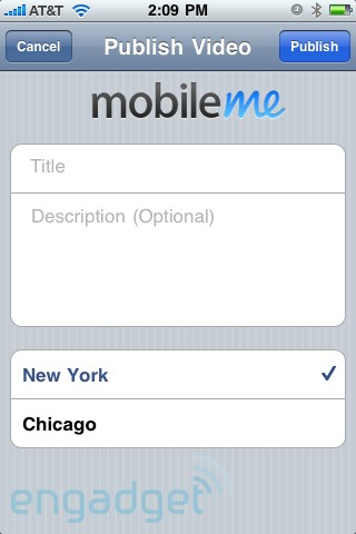 MobileMe Publish Video iPhone 3.0